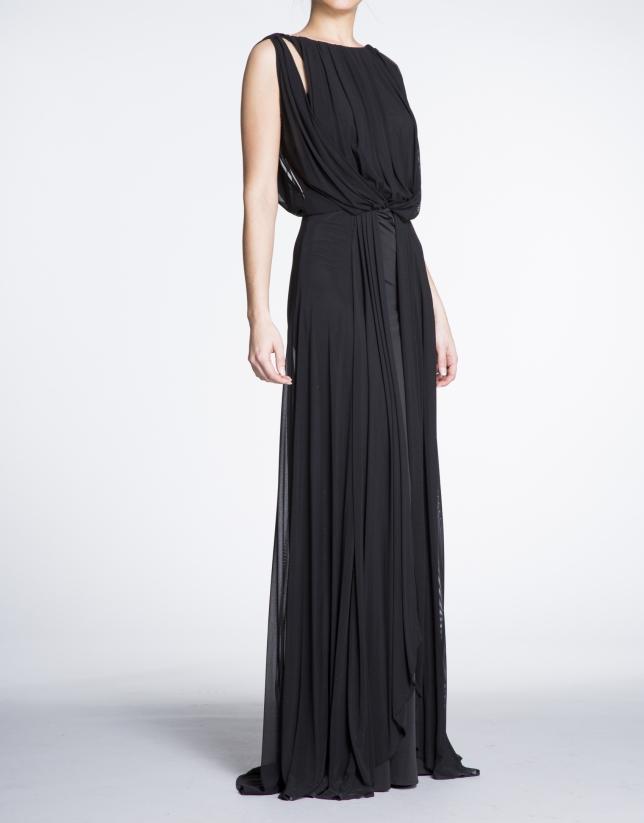 Vestido largo fiesta negro con delantero drapeado