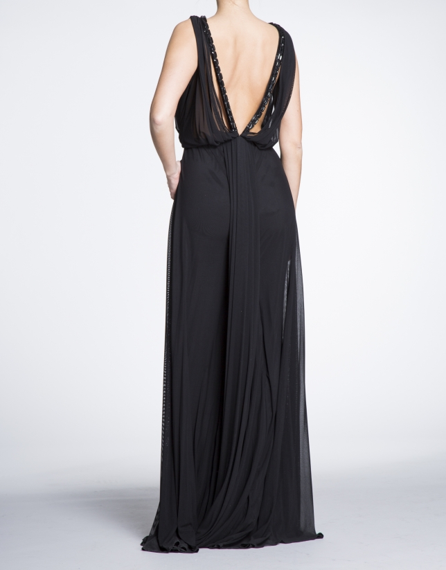 Black long party dress with draped front
