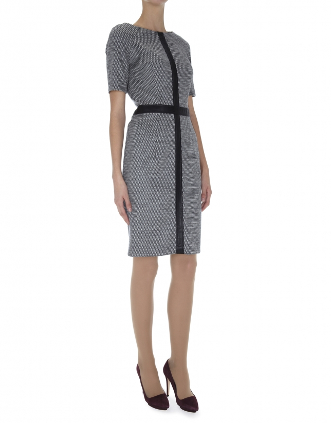 Gray wool short sleeved dress