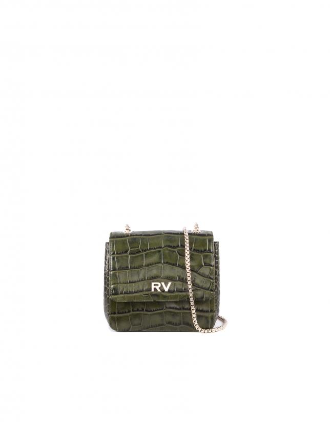 Alba green embossed alligator leather bag