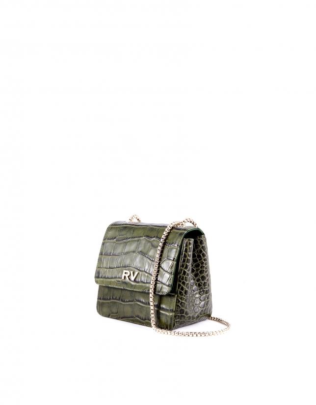 Bolso bandolera Alba verde piel grabado cocodrilo