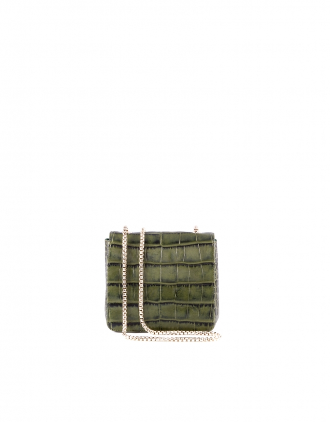 Alba green embossed alligator leather bag