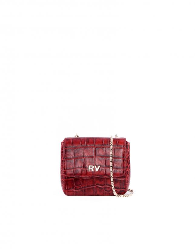 Alba red embossed alligator leather bag