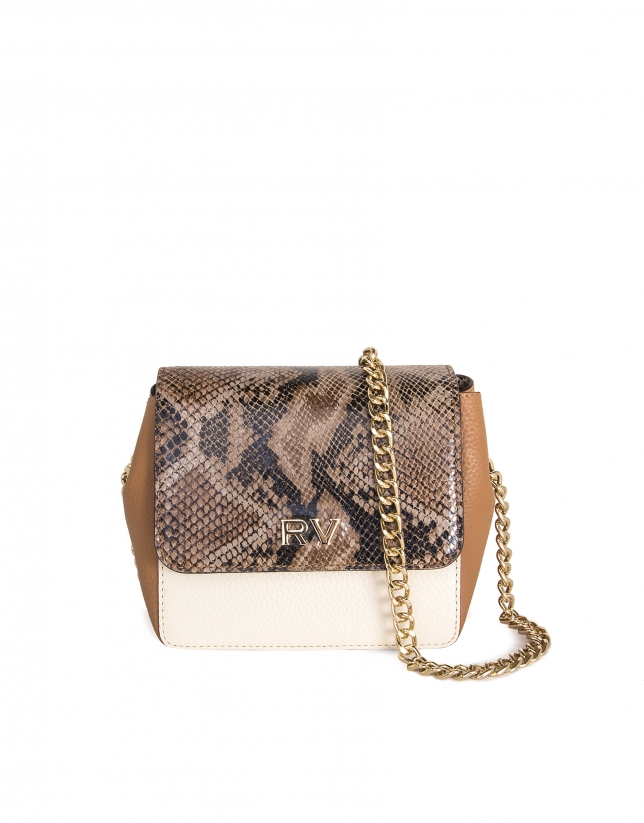 Color block leather shoulder bag