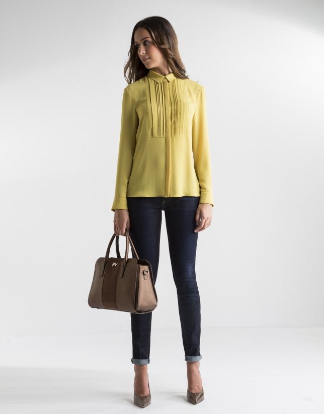 Camisa lorzas amarilla
