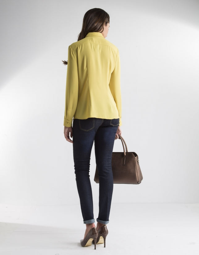 Yellow shirt with pin tucks