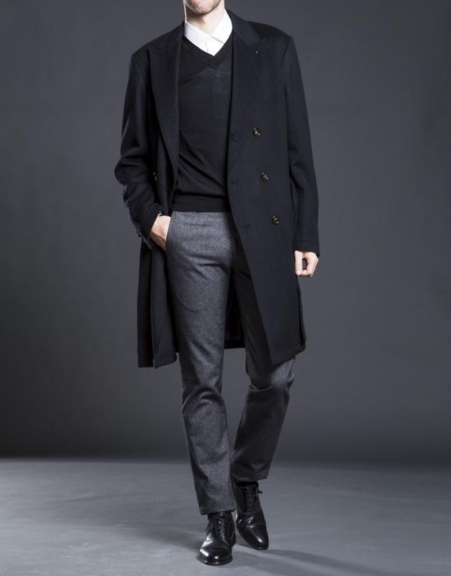 Abrigo cruzado negro cinturón