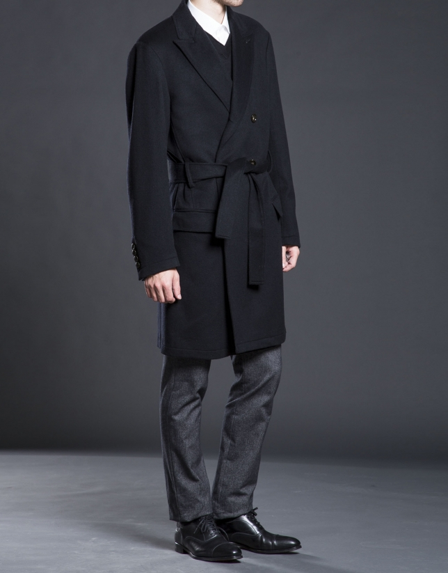 Black belted double breasted coat