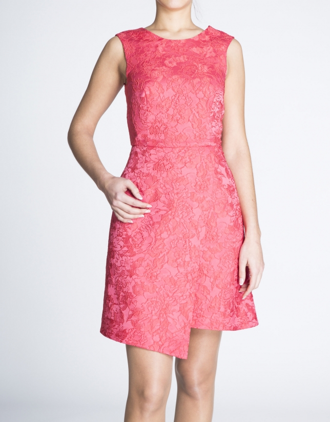Coral dress with bare back