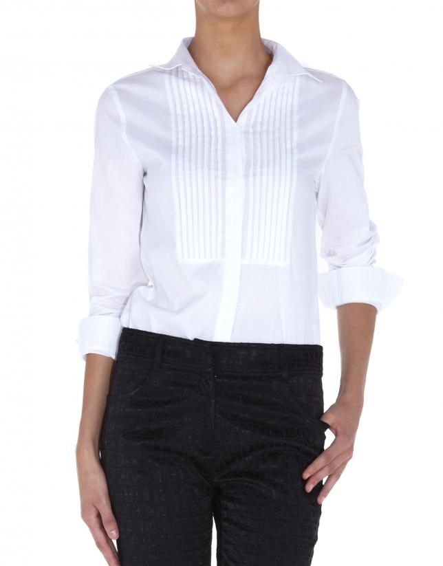Camisa blanca algodón con jaretas en pechera