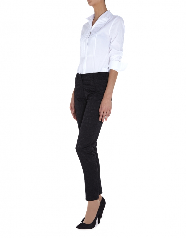 White cotton shirt with front tucks