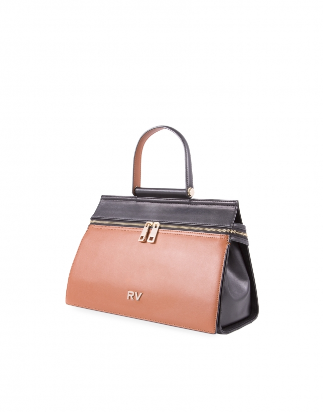 Victor brown and black leather bag