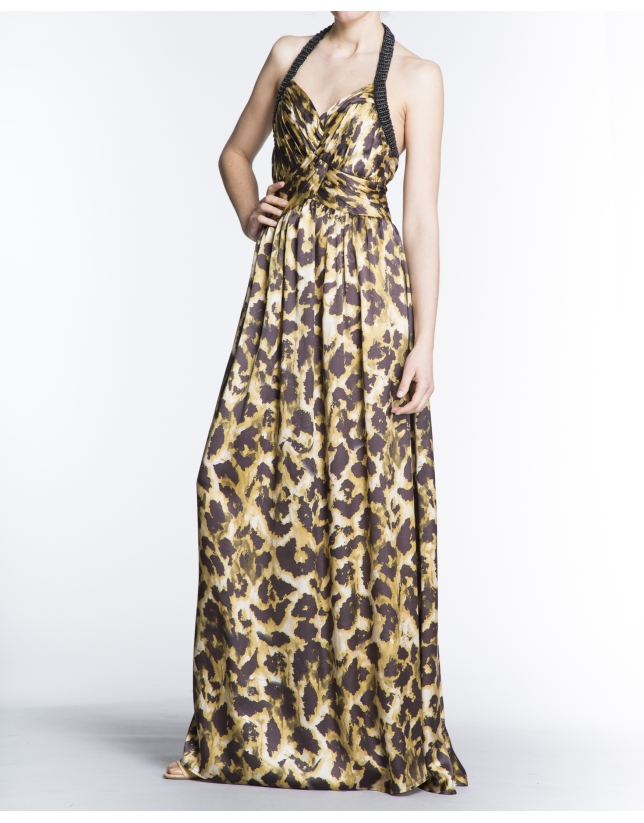 Long animal print halter top dress with draped neckline