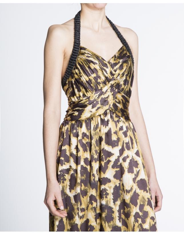 Vestido largo drapeado escote halter print animal.