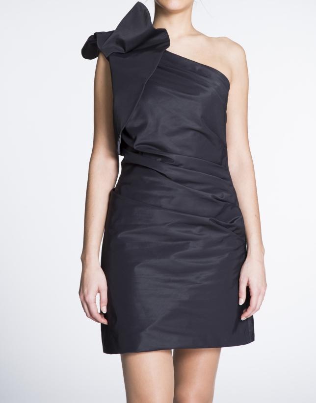 Black asymmetric short dress with shoulder ruffle