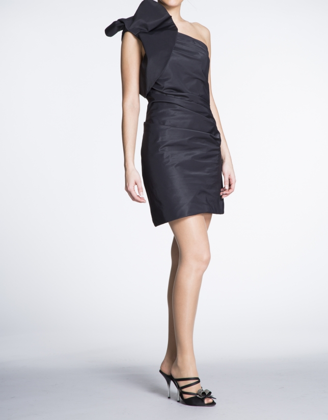 Black asymmetric short dress with shoulder ruffle