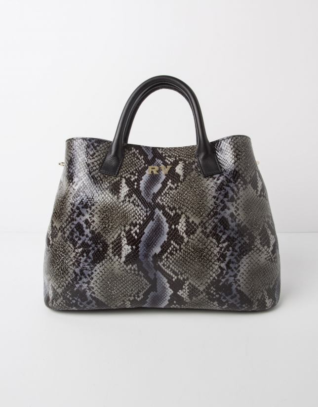 Green python print leather satchel