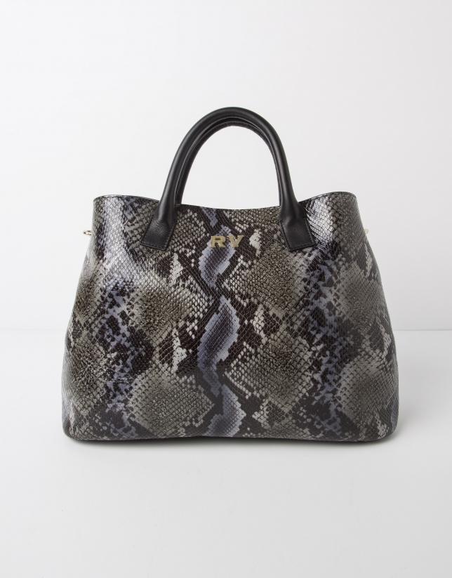 Green python print leather satchel
