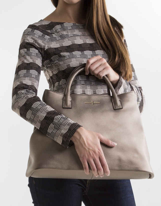 Metalized leather satchel