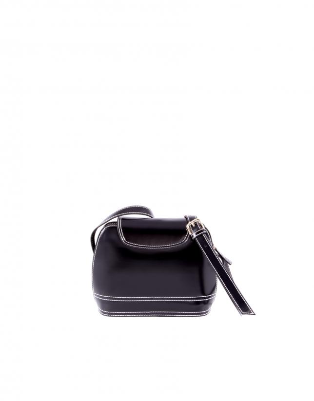 Sac Encarna en cuir vachette rigide noir.