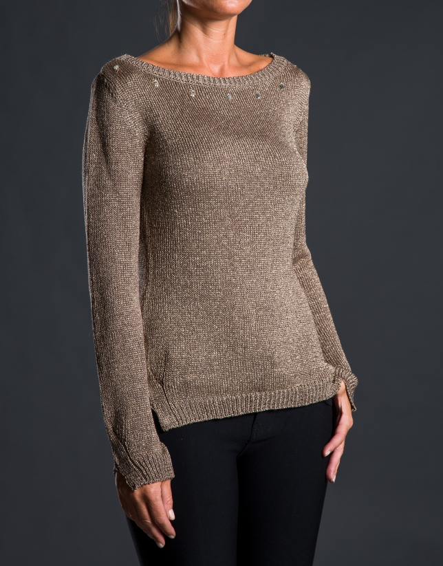 Gold knit sweater with beading