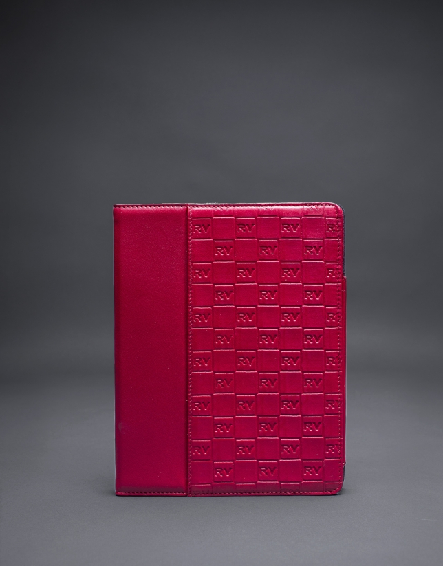 Red leather Ipad case with embossed RV