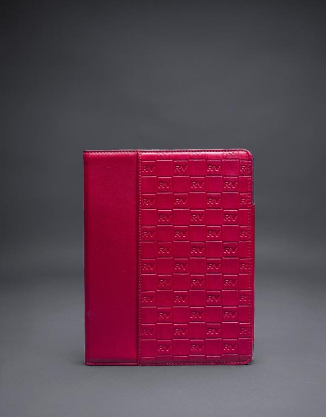 tui Ipad rouge cuir gravure RV