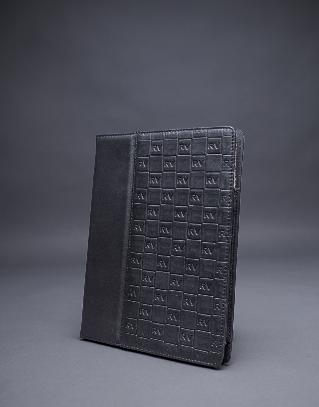 Black leather Ipad case  with embossed RV