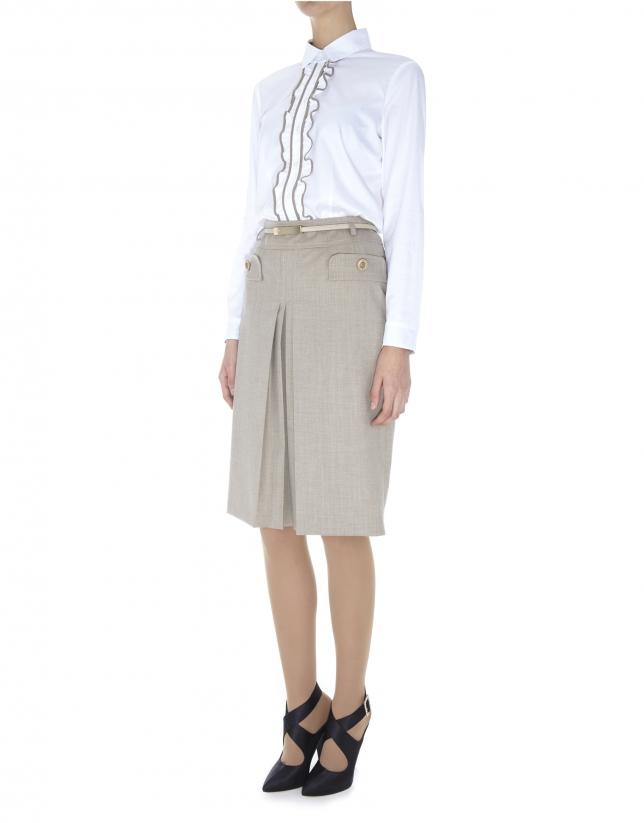 Camisa blanca algodón con jareta en tejido combinado en delantero