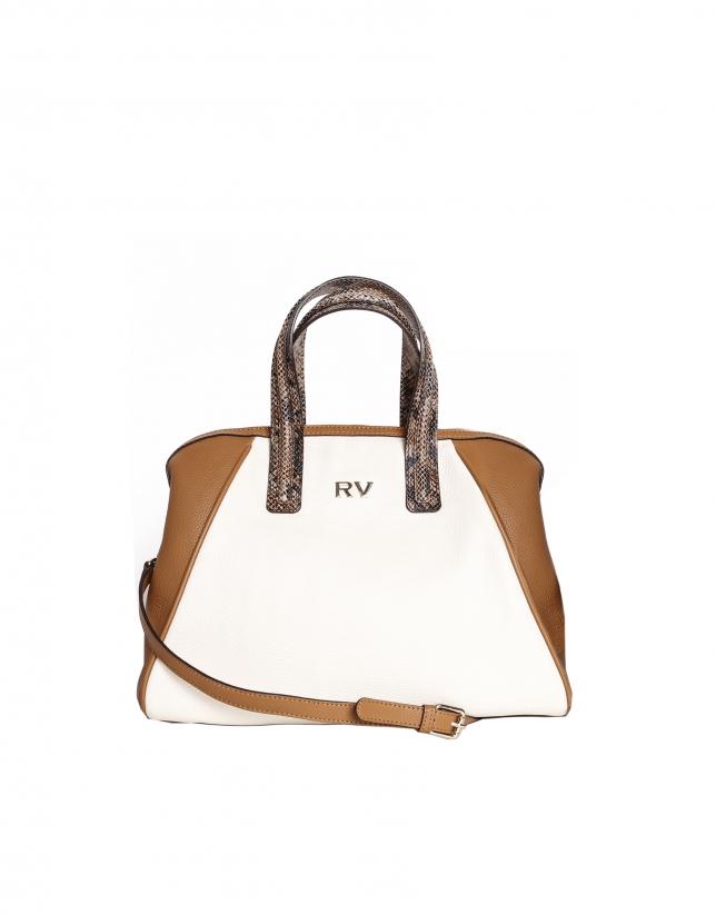 Color block leather satchel
