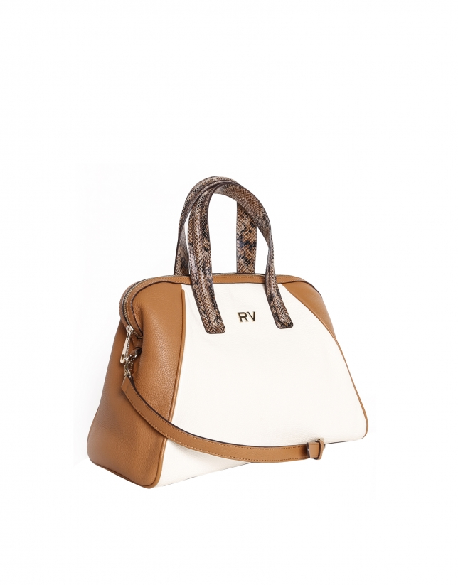 Color block leather satchel