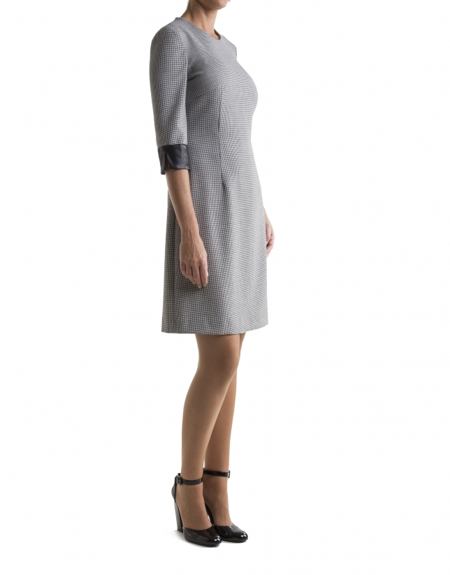 Gray hound's tooth print dress with three quarter sleeves