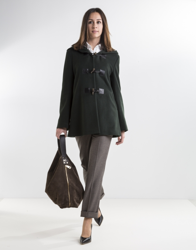 Green wool trench coat