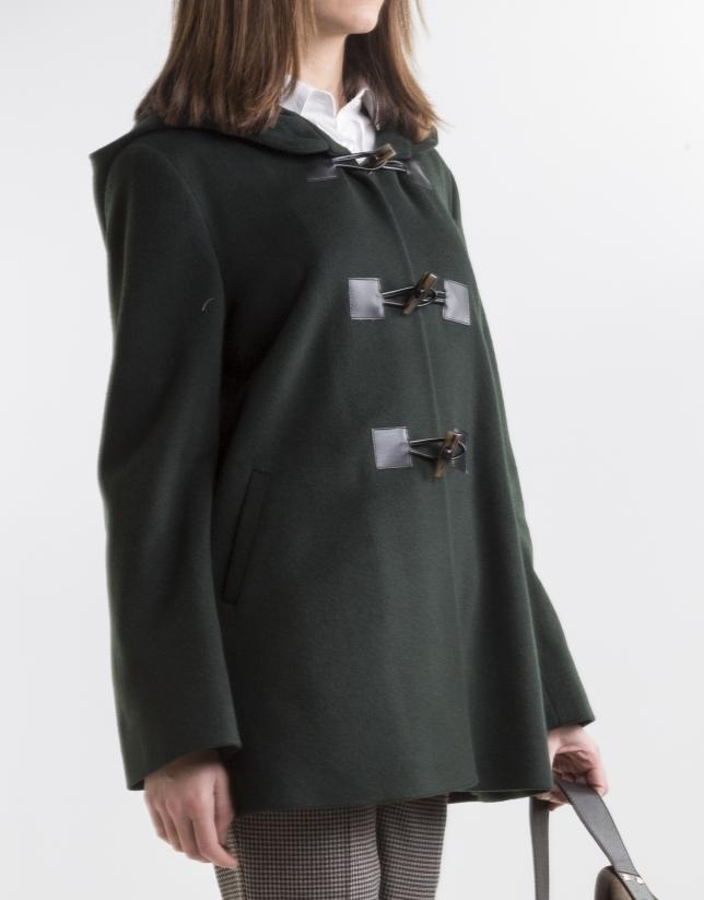 Duffle-coat vert en laine