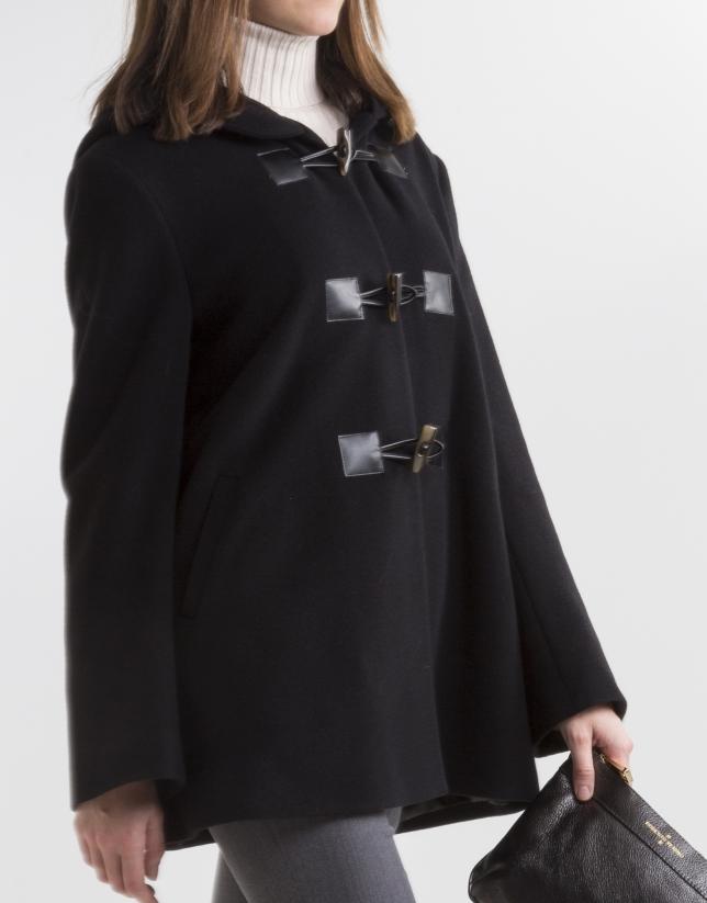 Duffle-coat noire en laine cachemire