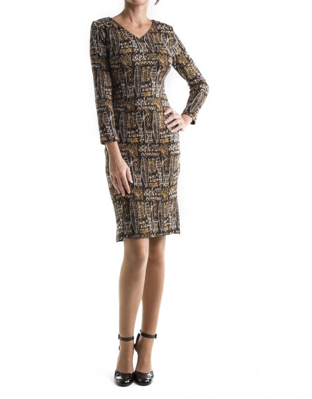 Long sleeved, African print dress