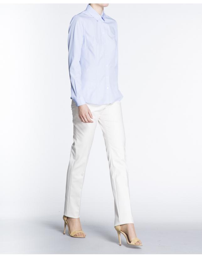 Camisa manga larga microdibujo azul