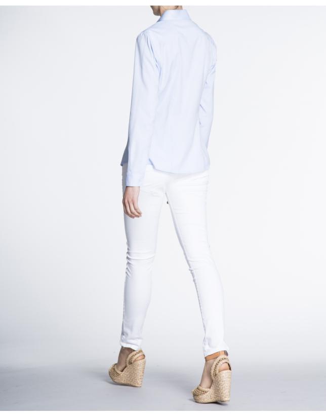 Long sleeve blue microprint shirt