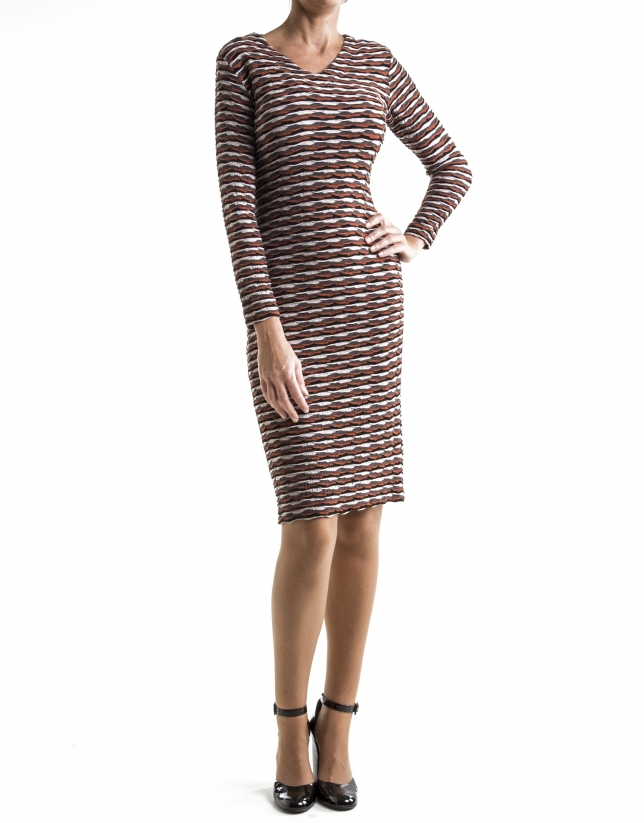 Red, long-sleeved, wave embossed print dress