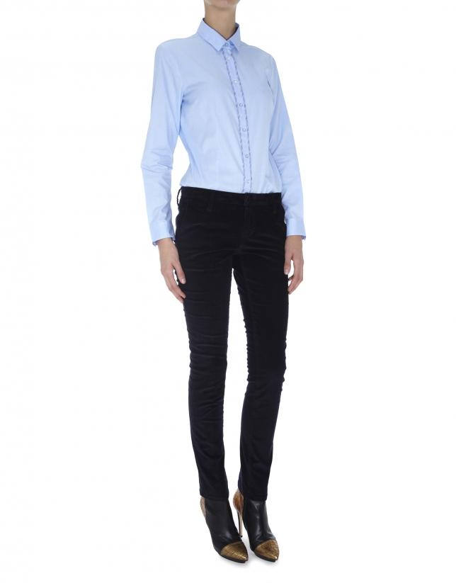 Camisa algodón azul con tejido combinado cuadros marrón