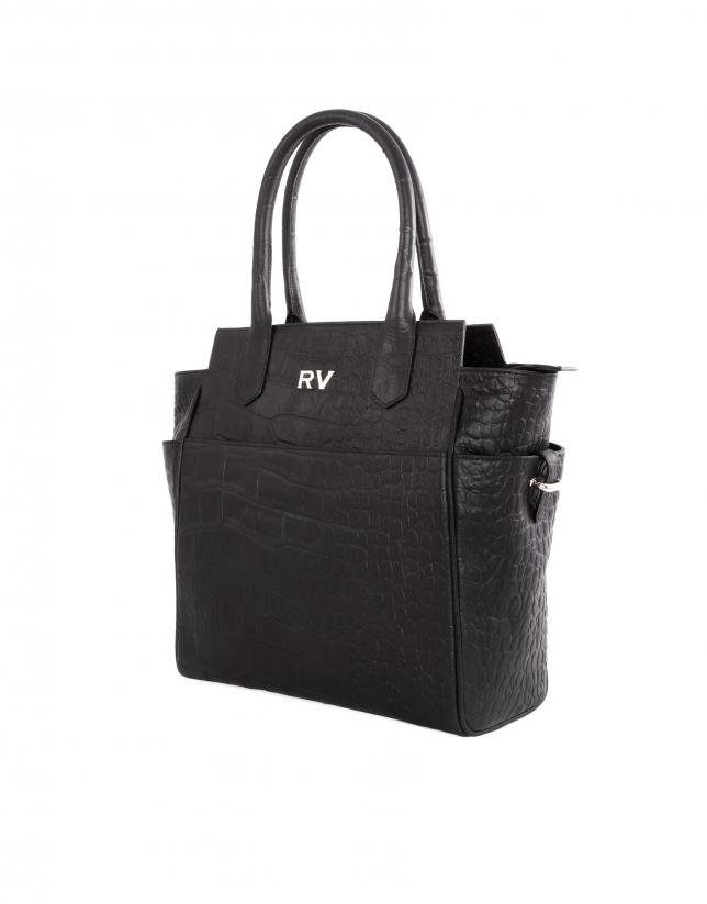 Paul Coal black embossed alligator leather bag