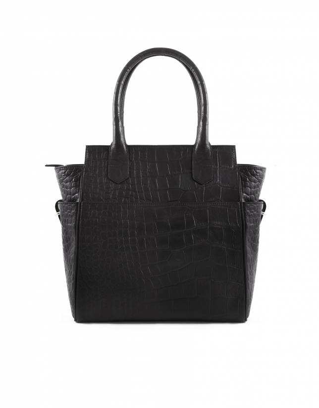 Paul Coal black embossed alligator leather bag