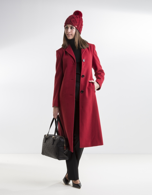 Red structured coat