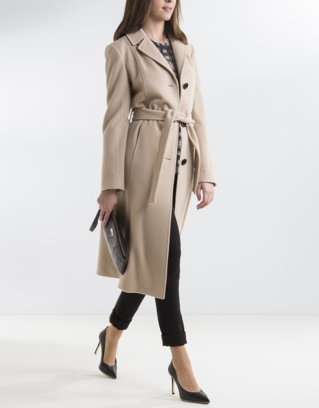 Camel structured coat