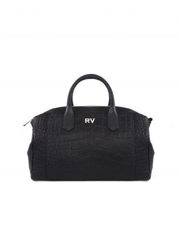 Alex Coal black embossed alligator leather bag