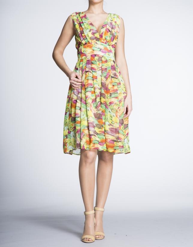 Vestido escote V talle alto estampado floral.