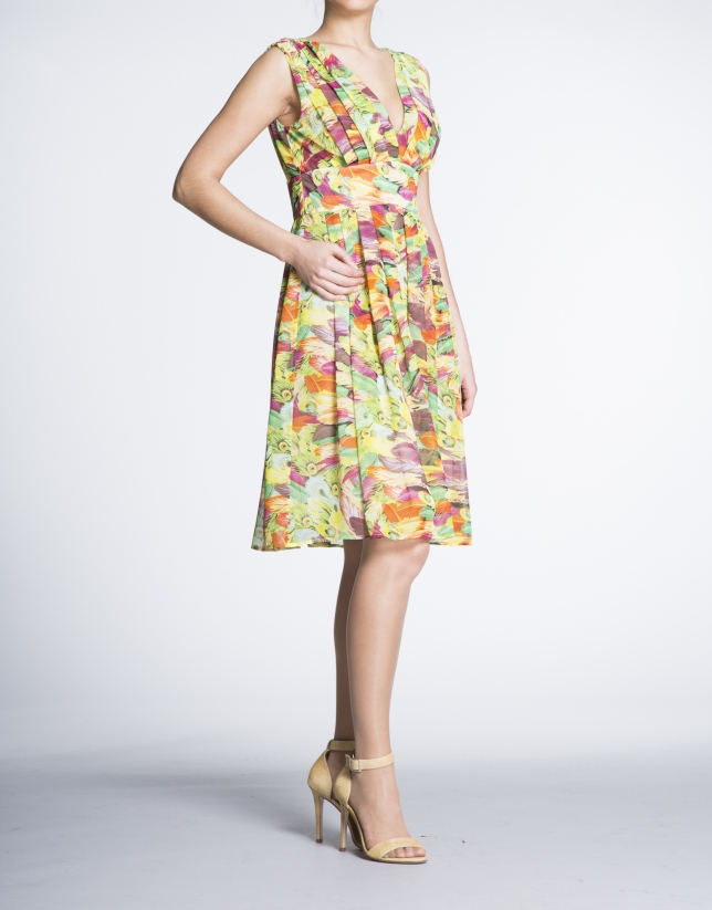 Floral print high waist V-neck dress