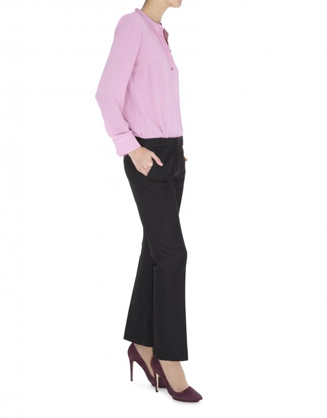 Blusa 3 botones tejido vaporoso rosa