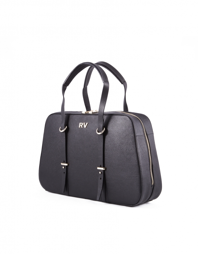 Adrian black Saffiano leather bag