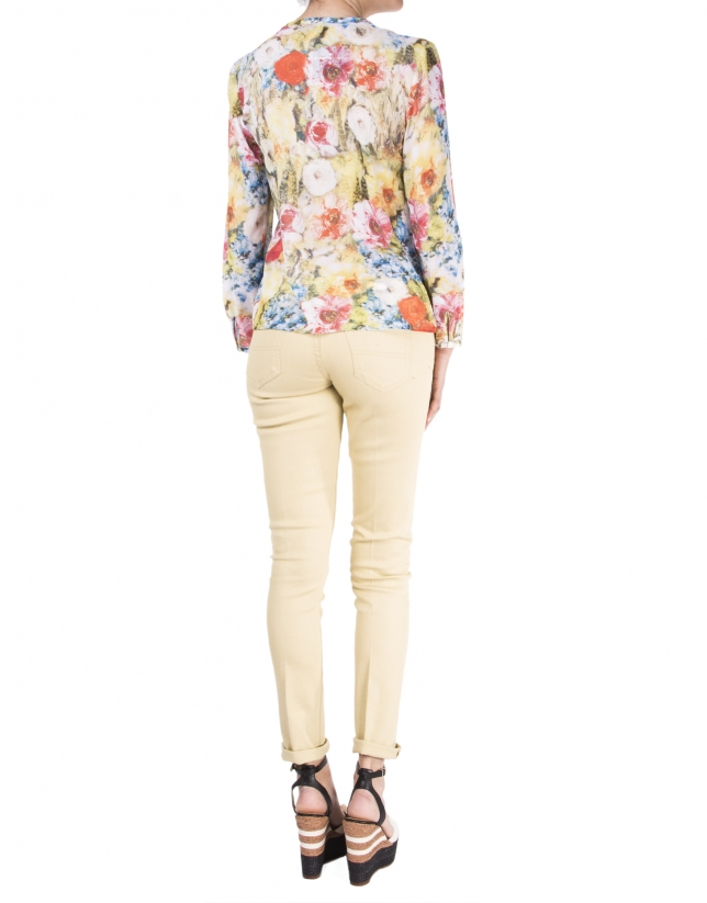 Long sleeve floral print shirt